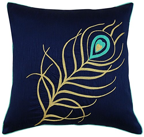 S4Sassy Peacock Feather Embroidered Cushion Cover Blue Square Polyester Dupion Pillow Case-14 x 14 Inches
