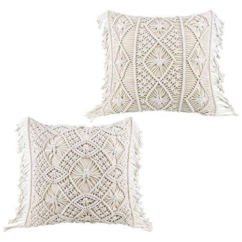 HomeyMosaic Cushion Cover Sofa Cushion Set of 2 Decorative Cushion Boho Cushion Covers 100% Cotton Decorative Cushion with Macrame for Bed Sofa Couch Bench Car Beige 45 x 45 cm