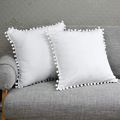 TEALP Off White Pom Pom Cushion Covers 20x20 inch, Vintage Design 100% Cotton Throw Pillow Case Home Decor Pillow Cover 50x50cm, Pack of 2