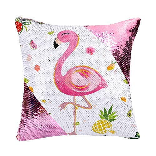 WERNNSAI Flamingo Throw Pillow Covers - 40 x 40 cm Square Pink Sequins Cushion Covers Birthday Xmas Gift Decorative Pillow Cases for Sofa Chair(NO Pillow Inserts)