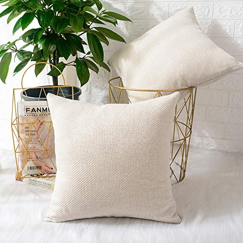 MERNETTE Pack of 2, Chenille Soft Decorative Square Throw Pillow Cover Cushion Covers Pillowcase, Home Decor Decorations For Sofa Couch Bed Chair 18x18 Inch/45x45 cm (Cream)