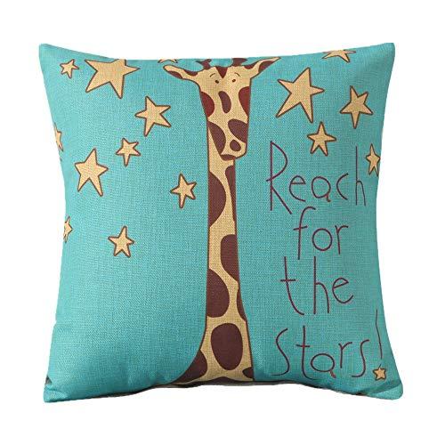 MF Square 18' Cartoon Animal Cushion Cover Cotton Linen Animals Pillowcase Car Home Decor Chair Sofa Seat (Giraffe)