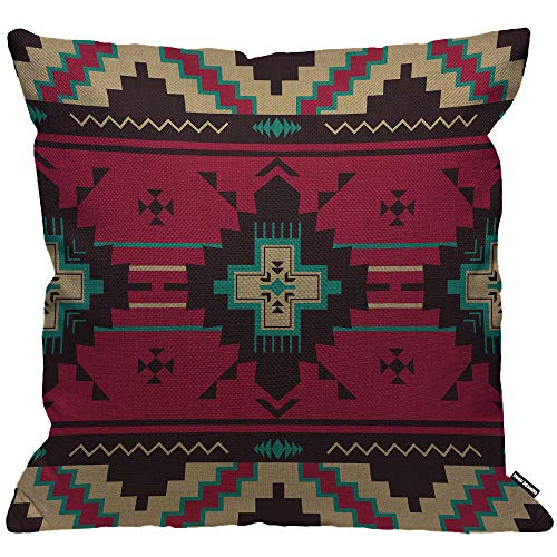 HGOD DESIGNS Ethnic Pattern Cushion Cover,Native Southwest American Indian Aztec Navajo Print Throw Pillow Case Home Decorative for Living Room Bedroom Sofa Chair 18X18 Inch Pillowcase 45X45cm