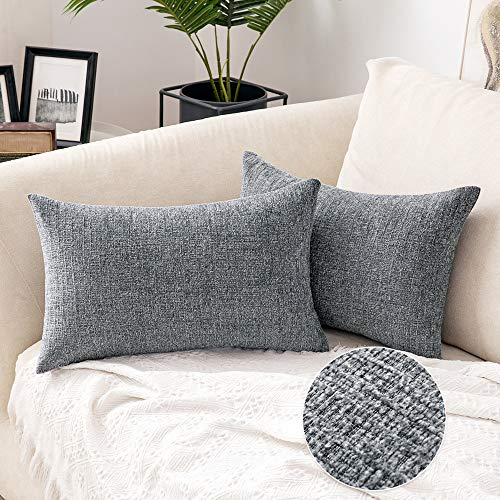 MIULEE Pack of 2 Cushion Cover Throw Pillow Case Chenille with Interlaced Texture Super Soft Square Decorative Home for Sofa Living Room Bedroom Sofa 12 x 20 inch 30 x 50 cm Dark Grey