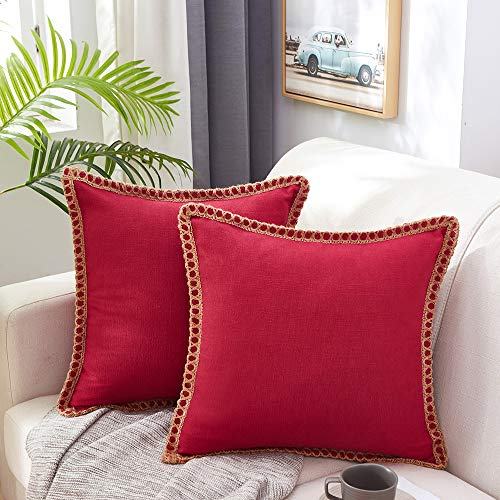 MERNETTE Pack of 2, Burlap Linen Farmhouse Decorative Square Throw Pillow Cover Cushion Covers Pillowcase, Home Decor Decorations For Sofa Couch Bed Chair 18x18 Inch/45x45 cm (Red)