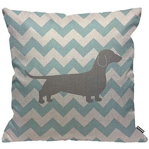 HGOD DESIGNS Cushion Cover Dachshund Dog on Blue Chevron,Throw Pillow Case Home Decorative for Men/Women Living Room Bedroom Sofa Chair 18X18 Inch Pillowcase 45X45cm
