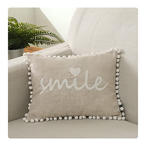 UKHP Embroidery Cushion Covers Decorative Rectangle Linen Throw Pillow Covers for Couch, Sofa, Chair, Living Room 30x50 cm, 12x20 inch Smile