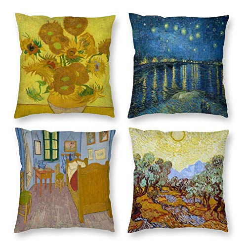 HOSTECCO Abstract Pillow Covers Set of 4 Decorative Pillow Cases Vincent Van Gogh Cushion Covers 16x16 inches / 40x40 cm
