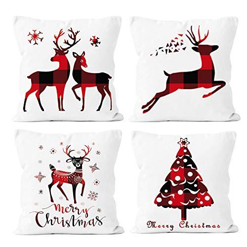 EURhine Christmas Pillow Covers 18x18 Inch, Sofa Decorative Xmas Throw Pillowcase, Cotton Linen Squared Cushion Pillow Cases, 4 Pack Sets B