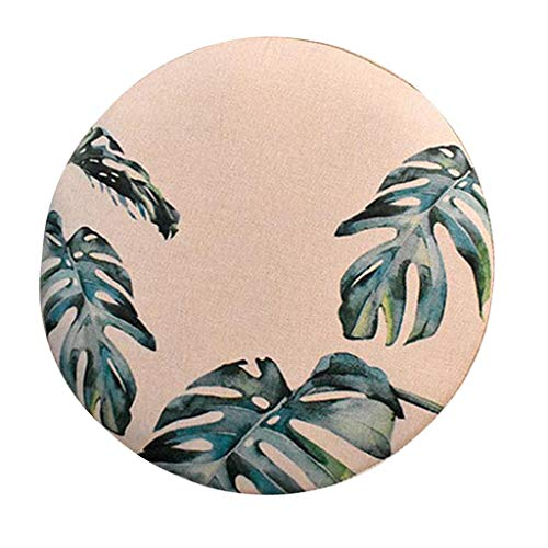 perfk Home Bar Stool Covers Round Chair Seat Cushions Sleeves - Monstera Leaves-40cm, as described