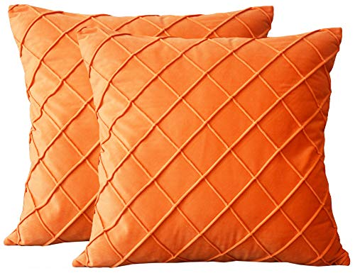 Lutanky Velvet Cushion Covers (Pack of 2) Soft Throw Pillow Cases Checked Design Decorative Square Pillow Cover for Sofa Bed 18' X 18' (45 x 45 cm) Orange