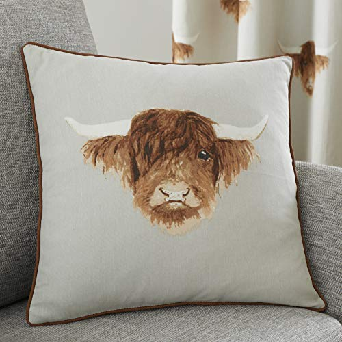 Fusion - Highland Cow - 100% Cotton Cushion Cover - 43 x 43cm in Natural
