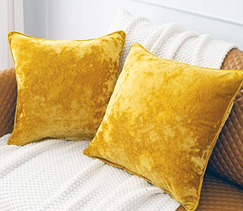 HORIMOTE HOME 2 Pcs Crushed Velvet Bright Yellow Square Cushion Covers for Sofa Couch Chair, Decorative Cushion Cases Pillow Covers for Livingroom Bed Car 40x40cm