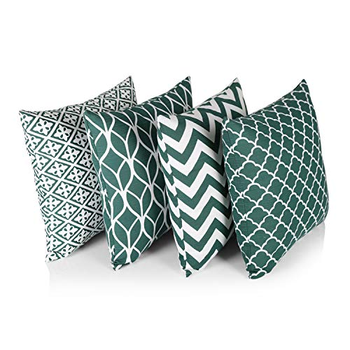 """Penguin Home® 100% Cotton Decorative Double Sided Square Cushion Covers with Invisible Zipper 45cm x 45cm x 18"""" (Set of 4, Forest Green/White Pattern), 45x45 Cm"""