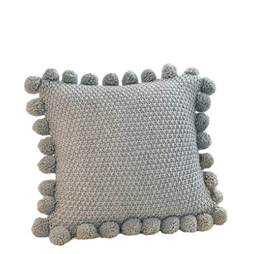 Ancoree Solid Color Knitted Pillow Cover Cushion Cover with Lovely Pompoms Lantern Ball, Large Simple Style Pillowcase Decorative Soft Pillow Sham with Hidden Zipper, 50x50cm (Grey)