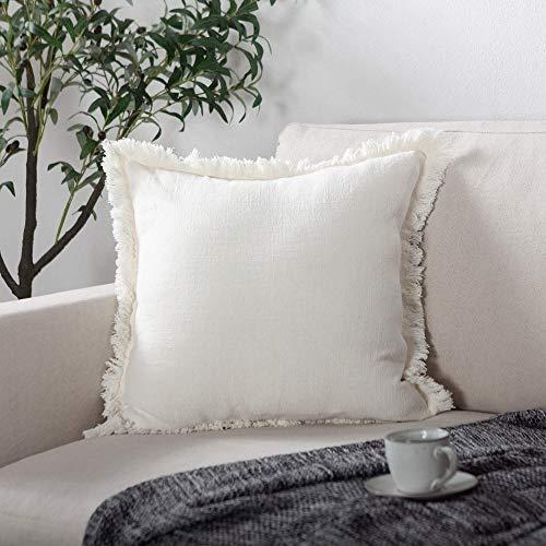 ATLINIA Linen Cushion Cover 20 x20 Inch Soft Square Decorative Fringed Throw Pillowcase for Livingroom Sofa Bedroom 50cmx50cm Cream White
