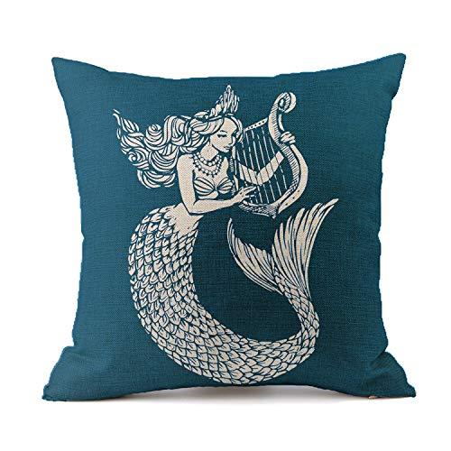 Vioaplem Mermaid Cushion Cover Cotton Linen Sofa Decorative Throw Pillow Case for Home Decor 18 x 18 Inch Navyblue