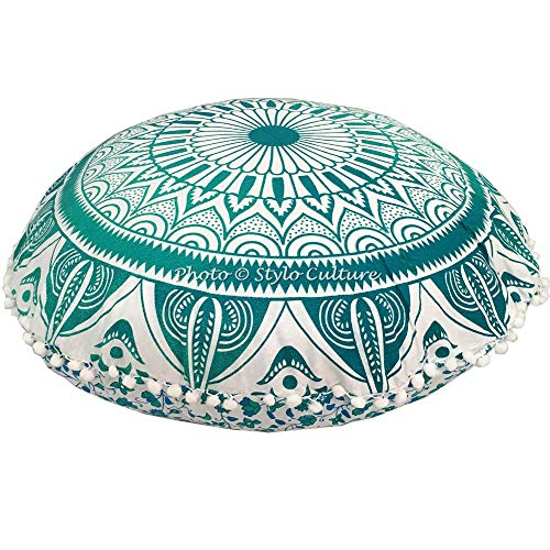 Stylo Culture Ethnic Bohemian Large Floor Pillow Meditation Scatter Cushion Cover Green Blue 80x80 cm Mandala Yoga Cushions Pom Poms Round Extra Large 32 Inch Living Room Cotton Chair Seating Cover
