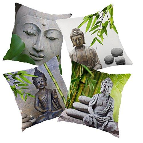 VIGVOG 4Packs Boho Pillowcase Hippie Retro Bamboo Pattern Throw Pillow Case Cover Cushion 18 X 18 Inches (Fozu-S)