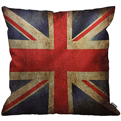 HGOD DESIGNS Cushion Cover UK Flag Vintage United Kingdom Flag Throw Pillow Cover Home Decorative for Men/Women/Boys/Girls Living Room Bedroom Sofa Chair 18X18 Inch Pillowcase