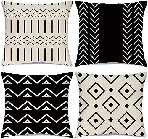 JOOCAR Throw Pillow Cover Set of 4, Modern Sofa Decorative Stripes Geometric Linen Linen Pillow Cover Flax Pillowcase Cushion for Sofa Couch Home Decor (Two Sides Print), 26x26 Inch