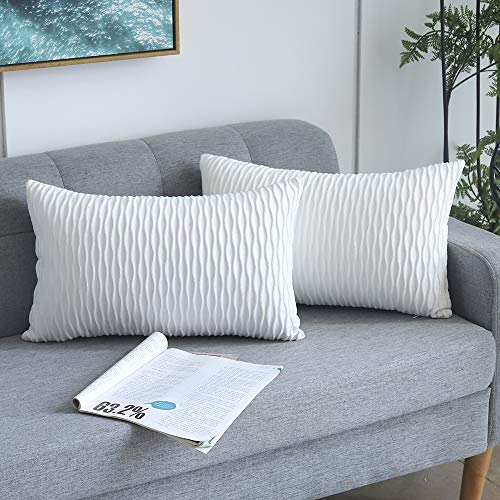 Yeadous White Striped Decorative Cushion Covers for Sofa Couch Bed, Classic Velvet Wavy Stripes Throw Pillow Cases, 12x20 inches, 30x50cm, Set of 2