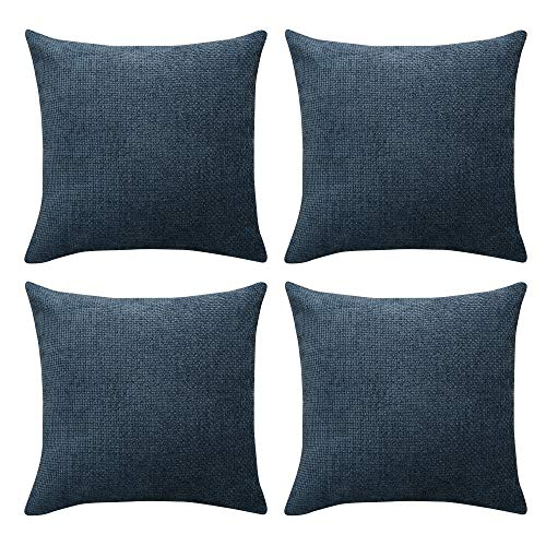 Amazon Brand - Umi Chenille Velvet Throw Pillow Case Super Soft Cushion Covers for Sofa Bedroom Decoration 18 x 18 Inch Dark Blue Set of 4