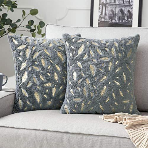 MIULEE Gold Feather Cushion Covers Fluffy Throw Pillow Covers Faux Fur Soft Decorative Square Plush Case for Livingroom Sofa Bedroom Grey and Gold 20 x 20 Inches 50 x 50 cm Pack of 2