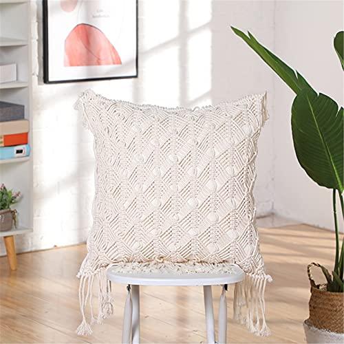 RAILONCH 1 x Cushion Cover Boho Beige Macrame Cushion Covers with Woven Tassels, Decorative Cushion Sofa Cushion for Sofa Bedroom Living Room 45 x 45 cm (E)