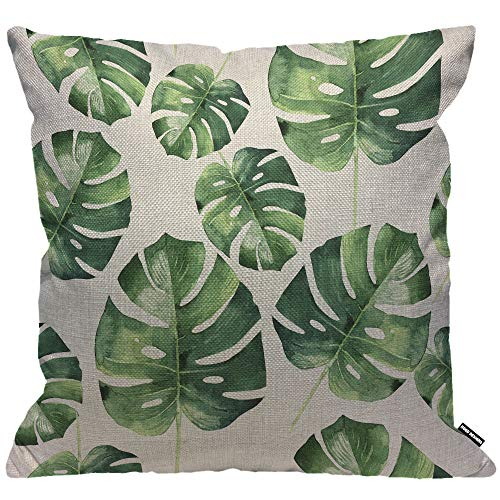 HGOD DESIGNS Cushion Cover Tropical Hawaii Leaves Palm Tree Throw Pillow Cover Home Decorative for Men/Women/Boys/Girls living room Bedroom Sofa Chair 18X18 Inch Pillowcase