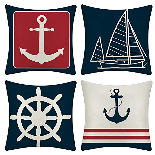JOTOM Cushion Covers Decorative Throw Pillow Case Sofa Car Sailboat & Ship Rudder Pillowcase for Home Bed Decor 45 x 45cm,Set of 4 (Anchor)