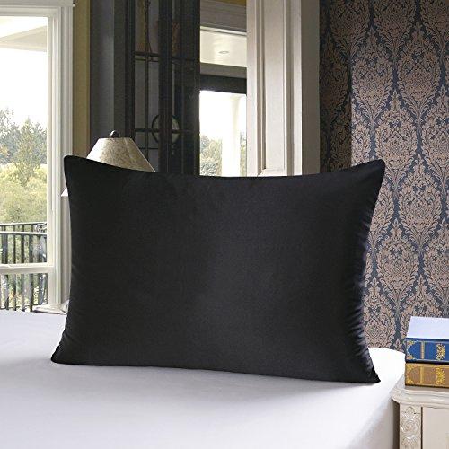 townssilk Both Side 100% 19mm Silk Pillowcase 80x80cm Pillow Case Cushion Cover with Hidden Zipper Black