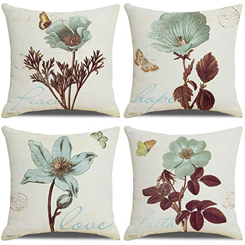 LAXEUYO Pack of 4 Cushion Covers, Farmhouse Vintage Retro Flower Pattern Cotton Linen Decorative Throw Pillow Covers Pillow Cases for 18x18 inches