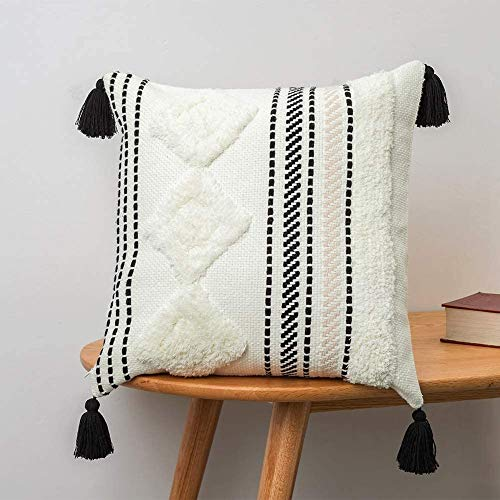 MeMoreCool Tufted Boho Cushion Cover, 45x45CM Decorative Throw Pillow Cover with Tassel Square Woven Pillowcases for Couch Sofa Bedroom Livingroom Garden Chair (Black off White)