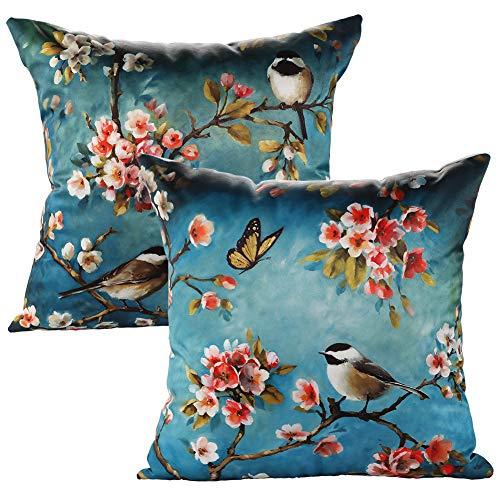 JOTOM Throw Pillow Case Animal Cushion Covers Couch Pillowcase Sofa Home Car Decorative 45 x 45cm,Set of 2 (Birds)