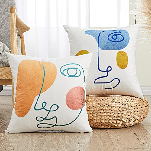 Abstract Face Cushion Pillow Case Cover Neutral 45cm x 45cm for Sofa Bedroom (Set of 2)