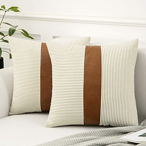 MIULEE Pack of Two Stripe Cushion Cover Throw Pillow Case with Leather Super Soft Decorative Home for Living Room Bedroom Sofa 45 x 45cm 18 Inch Khaki