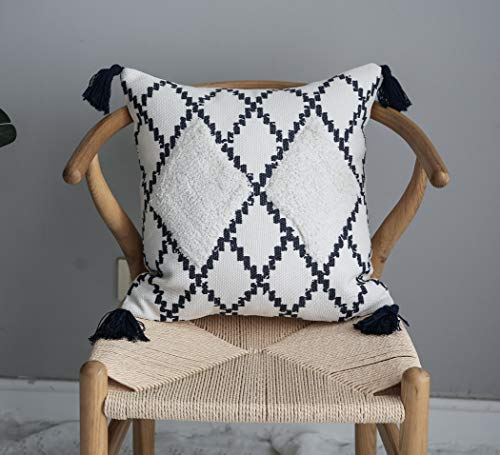 LIGICKY Boho Tufted Tassel Throw Pillow Cover Decorative Diamond Geometric Pattern Square Woven Cotton Cushion Cover Modern Tribal Pillow Case for Couch Sofa Bed Home Decor (18 x 18 Inch, Navy Blue)