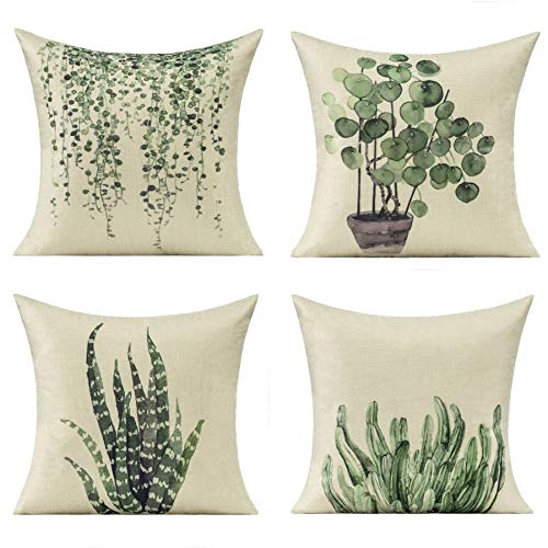 Green Cushion Covers Summer Plants Throw Pillow Case Decorative Natural Spring Aloe Ivy Vine Cactus Couch Decor Cotton Linen Pillows 18X18 Set of 4 for Home Room Sofa Bed