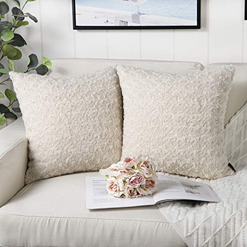 Mandioo Beige Faux Fur Cushion Covers 18x18 Inch 3D Flower Pattern Fuzzy Cozy Soft Decorative Throw Pillowcases for Couch Sofa Bedroom Car 45cmx45cm,Pack of 2
