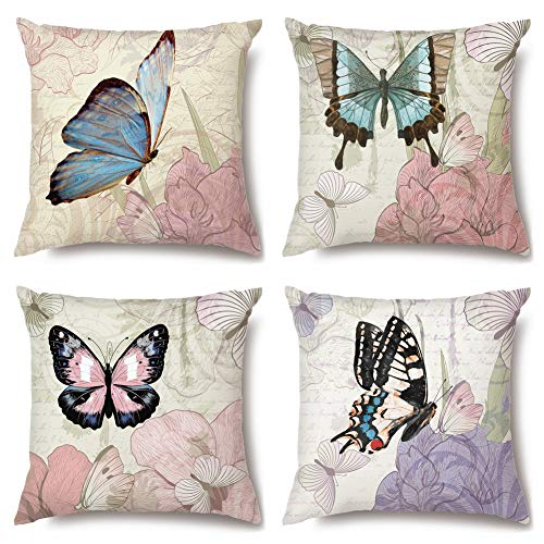Artscope High Grade Polyester Microfiber Decorative Cushion Covers 18 x 18 Inch Squar Pillow Covers Pillowcases for Sofa Car 45 x 45 cm, 4 Pack (Butterfly)