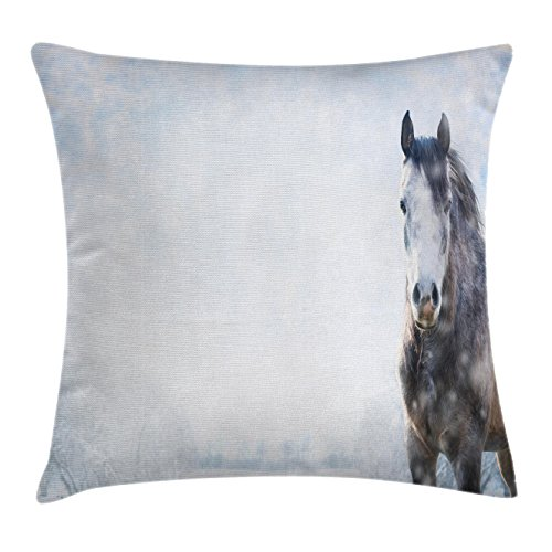 Ambesonne Farmhouse Throw Pillow Cushion Cover, Gray Horse on Winter Scenery with Snowfall in Wilderness Royal Animal in Nature, Decorative Square Accent Pillow Case, 18 X 18 inches, White Brown