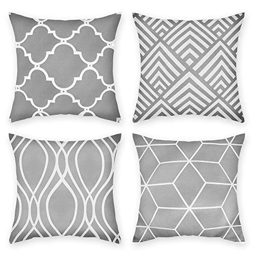 JuneJour Set of 4 Grey Cushion Covers Outdoor Furniture Decorative Linen Square Single-Sided Printing Pillow Cover for Home Office Sofa Couch Car Garden 45 x 45cm