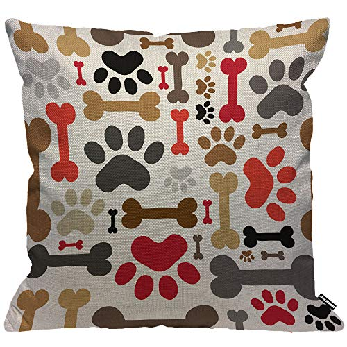 HGOD DESIGNS Cushion Cover Dogs Paws And Bones Lovely Cartoon Adorable Footprint Throw Pillow Cover Home Decorative for Men/Women/Boys/Girls living room Bedroom Sofa Chair 18X18 Inch Pillowcase