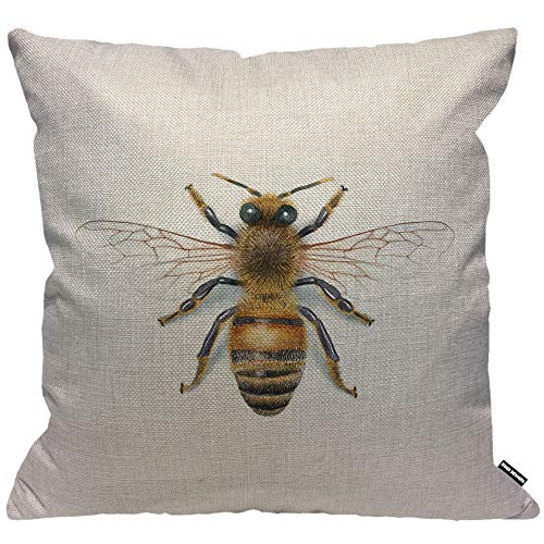 HGOD DESIGNS Bee Cushion Cover,Watercolor Drawing Bees Throw Pillow Case Home Decorative for Men/Women Living Room Bedroom Sofa Chair 18X18 Inch Pillowcase 45X45cm