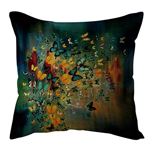 Watopi Butterfly Pattern Cushion Cover, Teal, Saffron, Cotton Linen Pillowcase, Vintage, 1 PC 45cm *45cm, for Sofa/Couch/Bed/Car, (D)