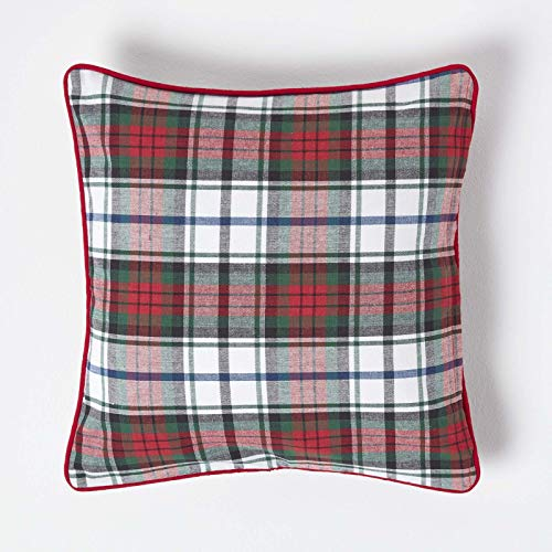 HOMESCAPES - 100% Cotton - MacDuff Tartan Check - Cushion Cover - 45 x 45 cm Square - 18 x 18 Inches - Christmas Red Green White - 100% Cotton sofa Cushion Cover - Washable