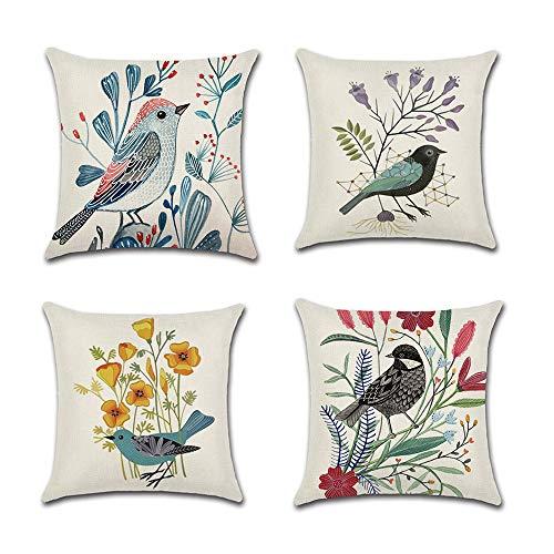 COWORK Set of 4 Floral Bird Cushion Cover Cotton Linen Throw Pillow Case Decorative Sofa Square Pillowcase for Home Garden Deco Favor, 18 x 18 inch / 45 x 45 cm with Invisible Zipper
