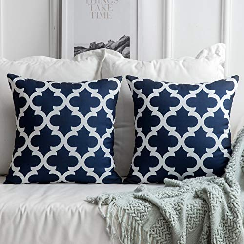 MIULEE Geometric Cushion Cover Decorative Throw Pillow Cover Square Modern Pillow Case for Bed Sofa Living Room 18 x 18 Inch 45 x 45 cm 2Pieces Blue