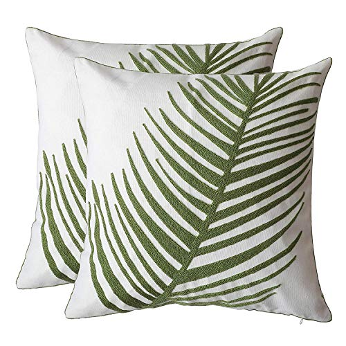 ZUODU 2PC Green Classic Jacquard Decorative Embroidery Pillow Cover Cushion Cover Throw Pillow Case 18 X 18 Inch 45 X45 Cm (Green-2PC)